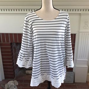 Blue and white striped tunic